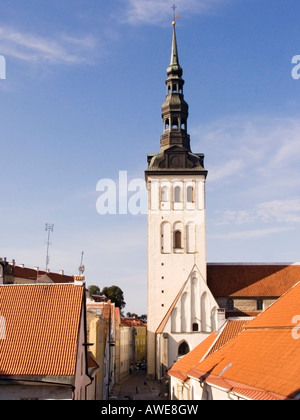 View of the historic centre and St. Nikolai Church in Tallinn, Estonia, Europe - Stock Photo