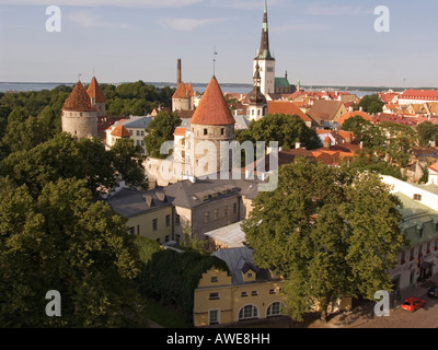 View of the historic centre and tower of St. Olai Church in Tallinn, Estonia, Europe - Stock Photo