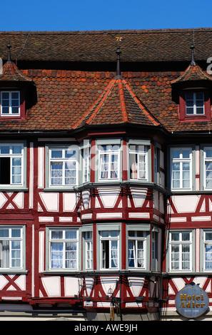 Half-timbered house Hotel Adler, Schwaebisch Hall, Baden-Wuertemberg, Germany - Stock Photo