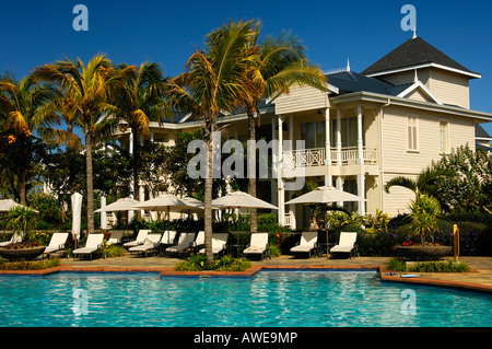 At the pool side, Resort Le Telfair, Mauritius - Stock Photo