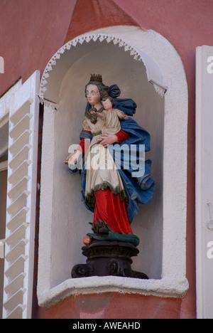 'Statue of Madonna and child on street corner, Selestat' - Stock Photo