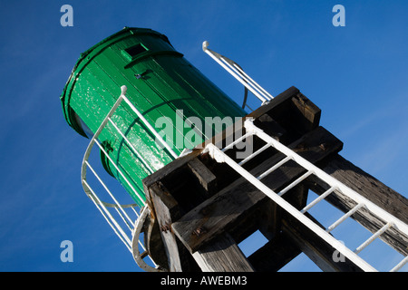 Starboard Navigation Beacon on The West Pier at Whitby North Yorkshire England - Stock Photo