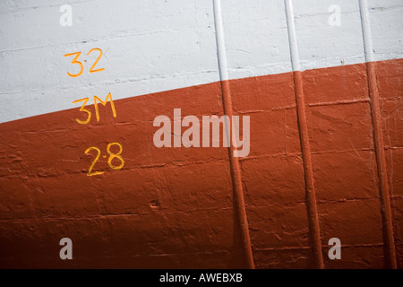 Plimsoll line newly painted on fishing vessel Macduff ship repair yard, Scotland uk - Stock Photo