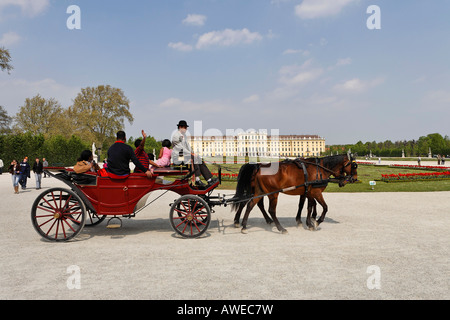 Horse-and-buggy in front of Schoenbrunn Palace, Vienna, Austria, Europe - Stock Photo
