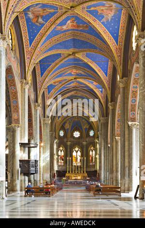 Interior view of Santa Maria sopra Minerva Church (Gothic church), Rome, Italy, Europe - Stock Photo