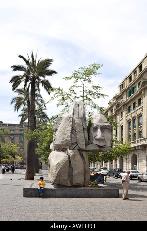 The Indigenous Peoples Monument at Plaza de Armas (all main squares in Chile go by this name), Santiago de Chile, - Stock Photo