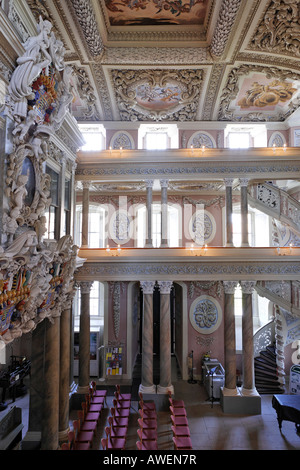 Interior view of the baroque palace church in Eisenberg, Thuringia, Germany, Europe - Stock Photo