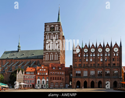 Gothic town hall and St. Nicholas Church at the Old Market in Stralsund, Mecklenburg-Western Pomerania, Germany, - Stock Photo