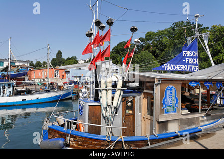 Seafood vendor and bistro on a boat, Sassnitz, Ruegen, Germany, Europe