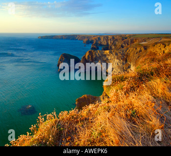 Bedruthan Steps on North Cornwall coast in beautiful late evening summer sunshine - Stock Photo