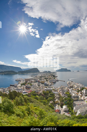View of the city from Aksla Hill, Ålesund, Norway, Scandinavia, Europe - Stock Photo