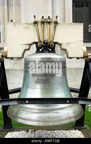 A replica of The Libery Bell in front of the Alaska State Capital builiding in Juneau Alaska USA - Stock Photo
