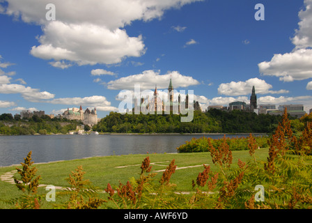 Parliament Hill viewed from the helipad - Stock Photo