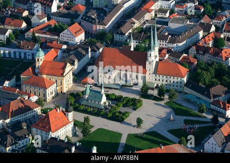 Aerial view of Grace Chapel (Gnadenkapelle) and Chapel Square in the pilgrimage town of Altoetting, Upper Bavaria, - Stock Photo