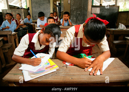 Schoolgirls in uniform during class, Amerindians, tribe of the Arawak, Kamuni river in the Guayana rainforest, South - Stock Photo