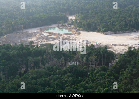 Aerial shot, silting the rainforest after mining, Guyana, South America - Stock Photo