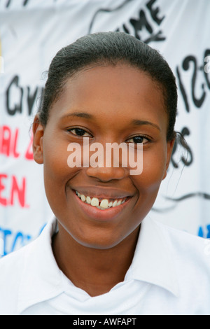 Portrait of a young woman of African ethnicity at a protest against violence against women, Georgetown, Guyana, - Stock Photo