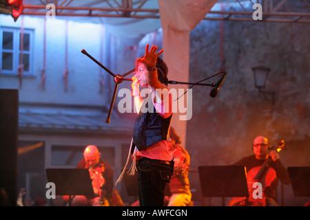 Gianna Nannini performing at a rock concert in Muehldorf am Inn, Upper Bavaria, Bavaria, Germany, Europe - Stock Photo