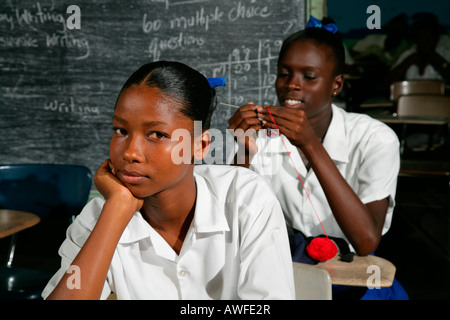 Girls at a training centre for young women in New Amsterdam, Guyana, South America - Stock Photo