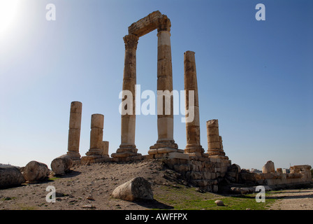 Ruins of the Roman Temple of Hercules, Jebel al-Qala, Amman, Jordan - Stock Photo