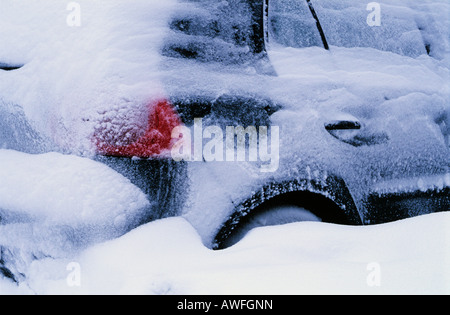 Snow-covered car - Stock Photo