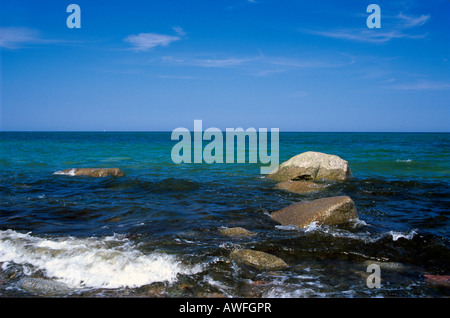 Rocks in the surf, Baltic Sea, Ruegen Island, Mecklenburg-Western Pomerania, Germany, Europe - Stock Photo