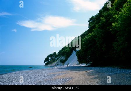 Steep coastal beach, Chalk Cliffs coast, Jasmund National Park, Ruegen Island, Mecklenburg-Western Pomerania, Germany, - Stock Photo