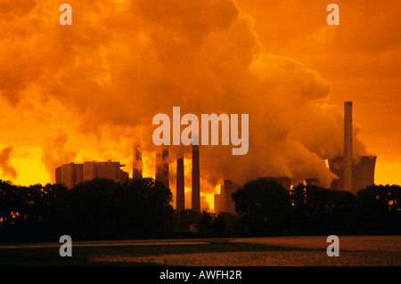 Brown coal power plant in evening light, emissions, North Rhine-Westphalia, Germany, Europe - Stock Photo