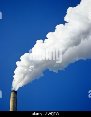 Factory smoke stack, pollution - Stock Photo
