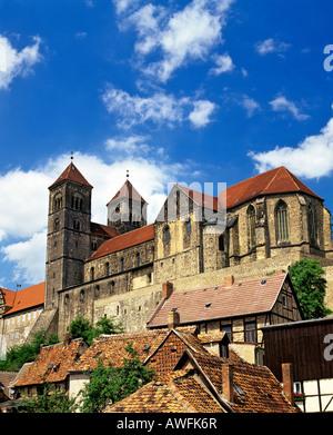 Schlossberg Castle and St. Servatius Church, Quedlinburg, Harz Mountains, Saxony-Anhalt, Germany, Europe - Stock Photo