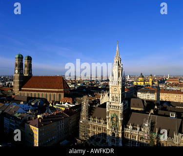 Panoramic view of the Altes Rathaus (Old City Hall) and the Frauenkirche Cathedral from St. Peter's Church in Munich, - Stock Photo