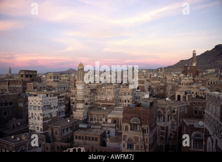 View over Sana'a at dusk - Stock Photo