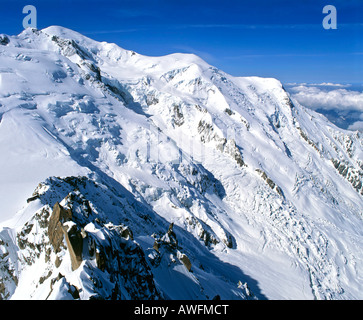 Mont Blanc viewed from Mt. Aiguille du Midi, Savoy Alps, France, Europe - Stock Photo
