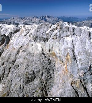 Aerial shot, Steinernes Meer karst high plateau, south face of Mt. Hochkoenig and Mt. Watzmann (middle), Berchtesgaden - Stock Photo
