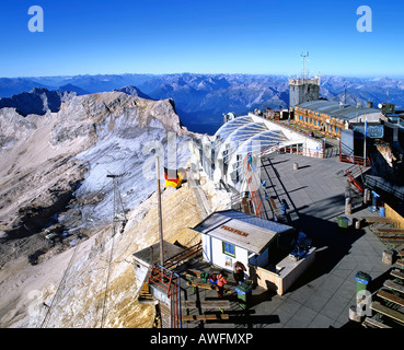 Panoramic view of the weather station and viewing platform on Mt. Zugspitze, Wetterstein Range, Upper Bavaria, Bavaria, - Stock Photo