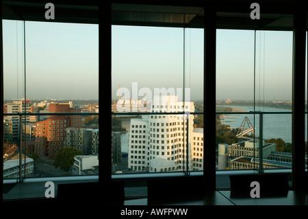 Gehry buildings and harbour, Duesseldorf, North-Rhine Westphalia, Germany - Stock Photo