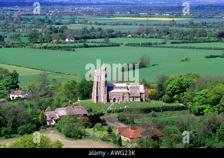 Green English landscape Ellesborough Chuch Buckinghamshire view from Coombe Hill agriculture agricultural fields - Stock Photo
