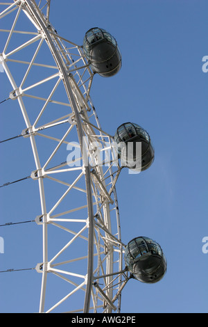 Closeup of a tourist filled capsules pods on the popular landmark tourism attraction The London Eye UK Europe - Stock Photo