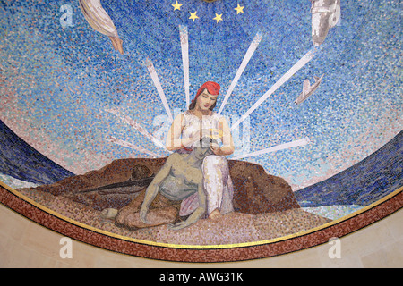 Part of the mosaic ceiling in The Chapel, Normandy American Cemetery, France. - Stock Photo
