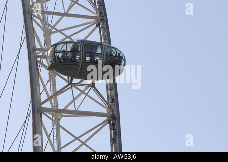 A tourist filled capsule pod on the popular landmark tourism attraction The London Eye UK Britain Europe - Stock Photo