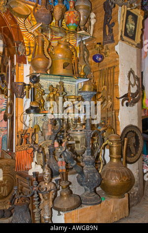 selection if items for sale in a market stall in Souk Naama Bay Sharm el Sheikh Egypt - Stock Photo