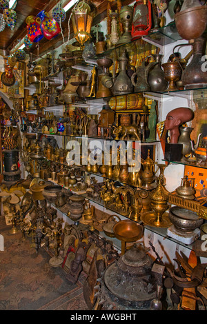 Selection of items for sale in a market stall in Souk Naama Bay Sharm el Shiekh Egypt - Stock Photo