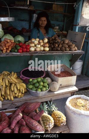 Belize Central America Corozal local produce vendor - Stock Photo