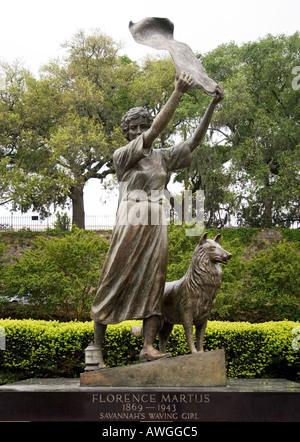 Bronze statue of Florence Martus 1869 1943 known as Savannah Georgias Waving Girl because of her practice of waving - Stock Photo