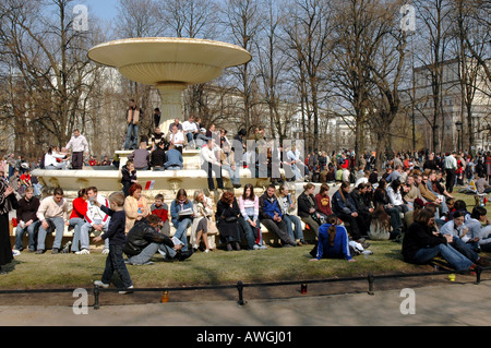 Warsaw, Poland  mourning after John Paul II death. Live transmition from Pope's funeral in Vatican City on Pilsudski - Stock Photo