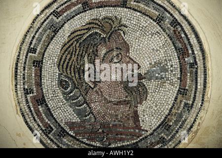Morocco Volubilis Mosaic Depicting Aeolus Roman God Of Wind On