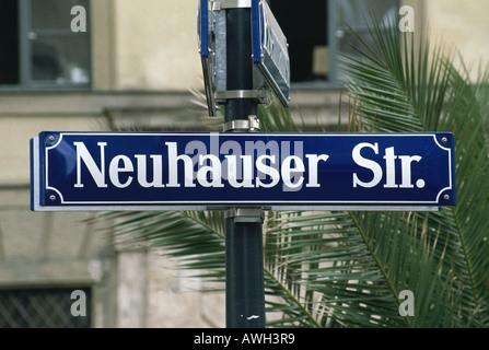 Germany, Bavaria, Munich, Neuhauser Straße, typical street sign on metal post - Stock Photo