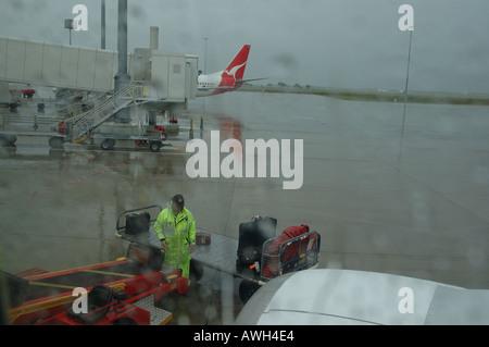 rainy day departure Brisbane Airport Queensland Australia dsc 7362 - Stock Photo