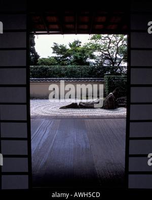 Rock Zen garden viewed from Zuiho in Temple Kyoto Japan - Stock Photo