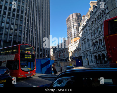 Heavy traffic and construction work in the heart of the city near Bank underground station London UK - Stock Photo